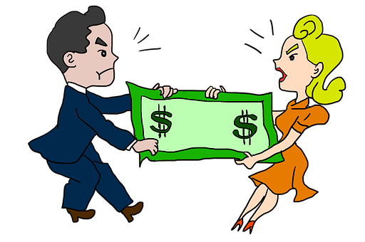 Living costs after divorce. Couple fighting over money